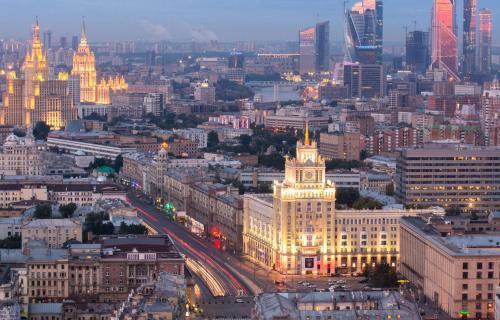 Общий вид на город Москва или вид на город из отеля