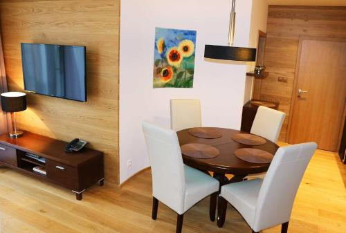 A television and/or entertainment center at Privileged Lesna - with Garden Terrace