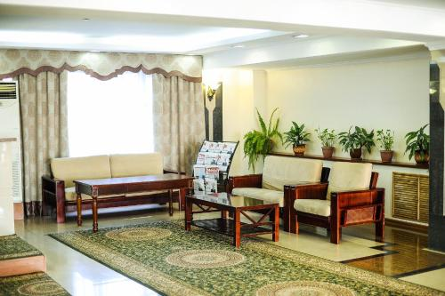 A seating area at Dostyk Hotel