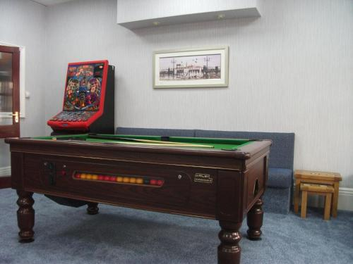 A billiards table at Sherwood Hotel