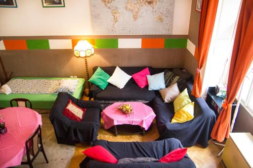 A seating area at Hostel Budapest Center