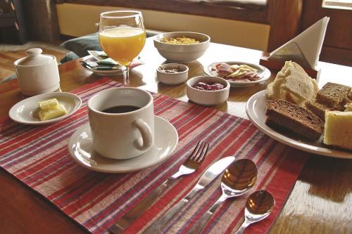 Opciones de desayuno para los huéspedes de Infinito Sur