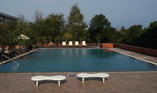 The swimming pool at or close to Taj Chandigarh