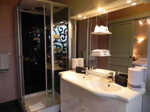 A bathroom at Hôtel Restaurant Le Pont Napoléon