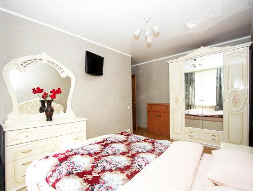 Кровать или кровати в номере ApartLux Люкс на Савеловской