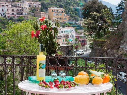 A general view of Positano or a view of the city taken from the apartment