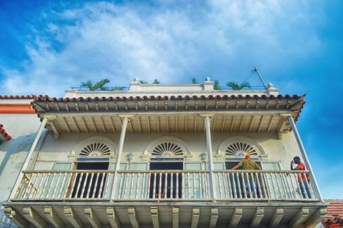 A balcony or terrace at Media Luna Hostel Cartagena