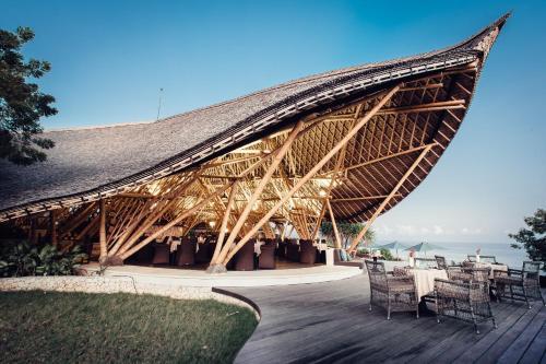 A porch or other outdoor area at Suarga Padang Padang