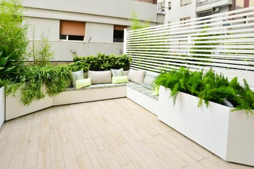 A patio or other outdoor area at Click&Sleep
