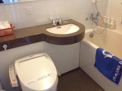A bathroom at Okayama Plaza Hotel