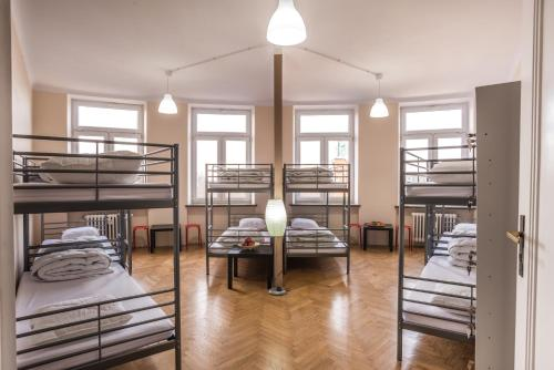 A bunk bed or bunk beds in a room at Bubble Hostel