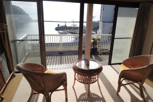A balcony or terrace at Fukumakan