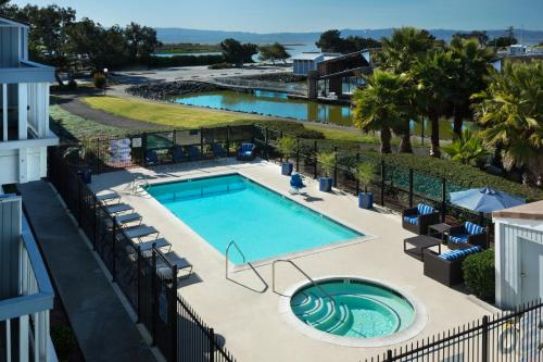 A view of the pool at The Marina Inn on San Francisco Bay or nearby
