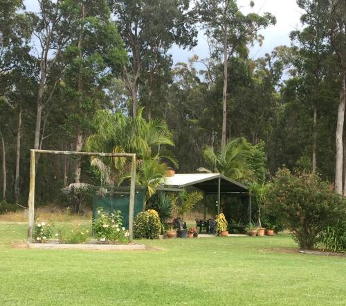 A garden outside Snowy River Lodge Motel