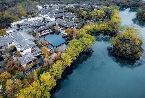 A bird's-eye view of Four Seasons Hotel Hangzhou at West Lake