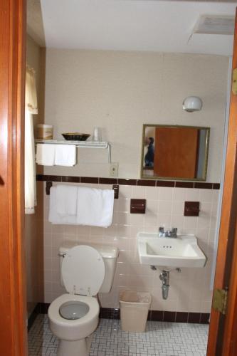 A bathroom at Elm Motel