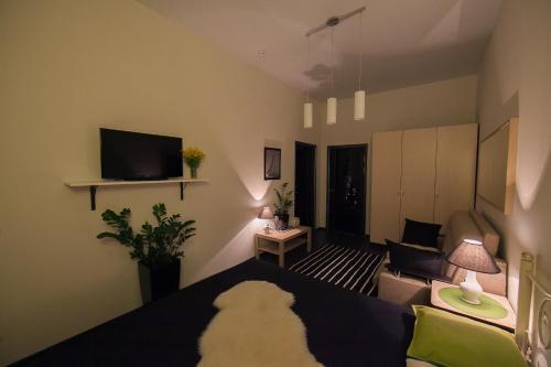 Телевизор и/или развлекательный центр в Apartment Chernomorskaya 10 Lux