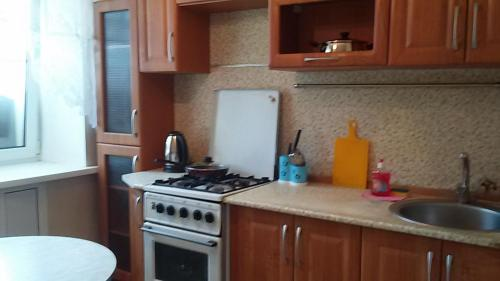 A kitchen or kitchenette at Амурский бульвар 56 Вокзал жд