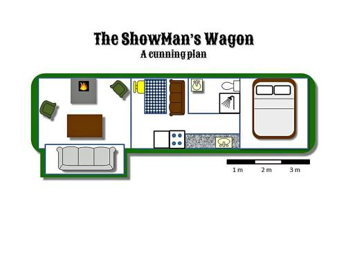 The floor plan of Showman's Wagon at Coed Cae