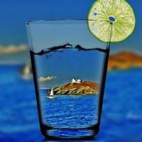 Calme et détente. Vue panoramique mer Égée.