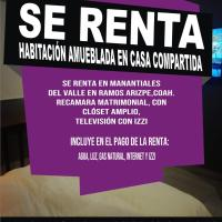 SE RENTA HABITACION EN CASA COMPARTIDA