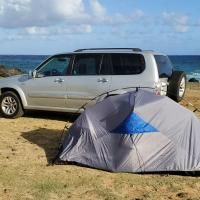 Camping SUV or Compact vehicle included and full camping gear set Private campsite self guided setup security free parking, hotel in Kahuku