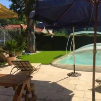 Studio in Vence with wonderful city view private pool enclosed garden 8 km from the beach