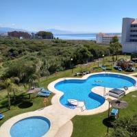 Apartment with 2 bedrooms in Manilva, with wonderful sea view, shared pool, enclosed garden - 100 m from the beach