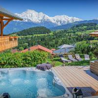 Elegant chalet for 8 with spectacular Mont Blanc views hot tub & bubble sauna in peaceful location