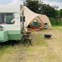 Private glamping in a vintage caravan & bell tent
