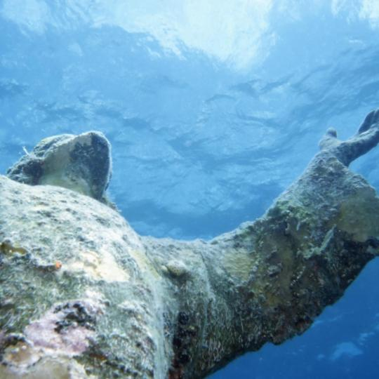 The submerged Christ of the Abyss statue