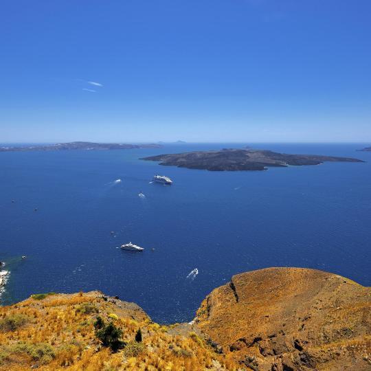 Santorini's volcano and Thirasia Island
