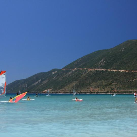 Windsurfing on Vasiliki Beach