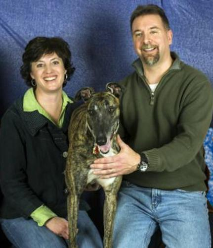 Innkeepers, Gwenda, Don and their greyhound, Wally