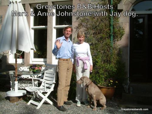 Anne & Mark  Johnstone  and Dug the dog