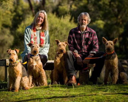 Sue & Bill and our Airedale family
