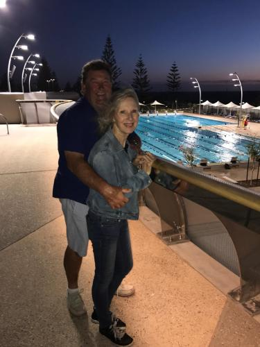 Host and hubbie with new Scarborough Beach Pool in background