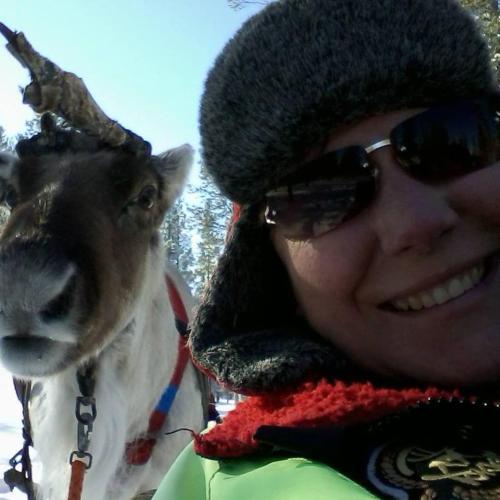 Donna & a Lappish Reindeer called Boris